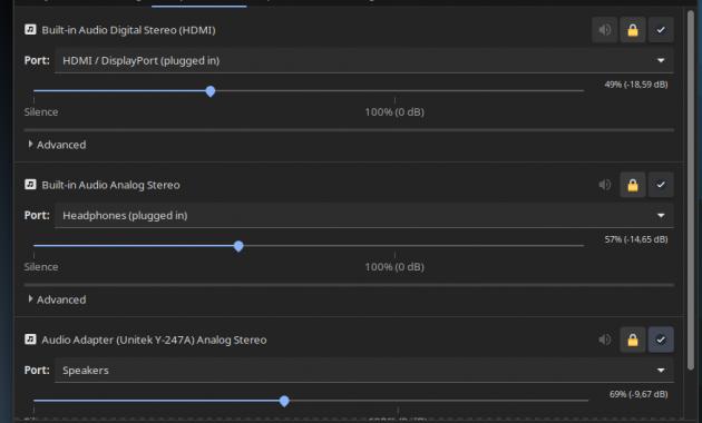 pilihan outpu keluaran audio suara linux ubuntu